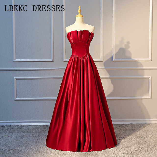 Strapless Satin   Prom     Dresses   Burgundy Gala Jurken Floor Length Vestido De Festa Sleeveless   Prom     Dress   Women Evening   Dress