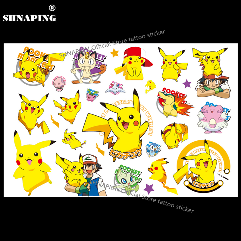 SHNAPIGN Pokemon Go Child Temporal Body Art Flash Tattoo Sticker 10 * 17cm Impermeable Henna Fake Tato Car Styling Sticker