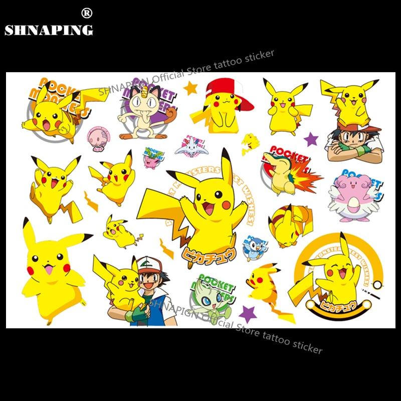SHNAPIGN Pokemon Go Child Temporary Body Art Flash Tattoo Sticker 10*17cm Waterproof Henna Fake Tato Car Styling Sticker