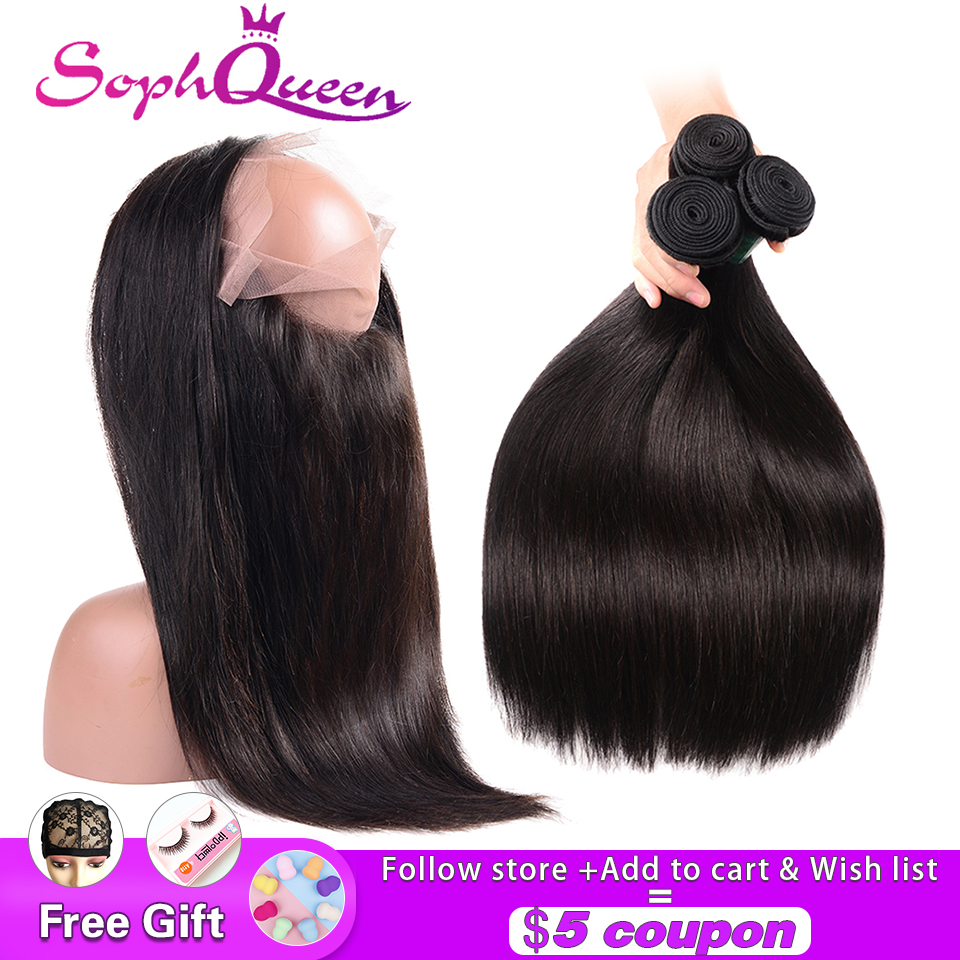 Soph Queen Hair 360 Lace Frontal With Bundles Indian Remy Straight Human Hair Weave Bundles With