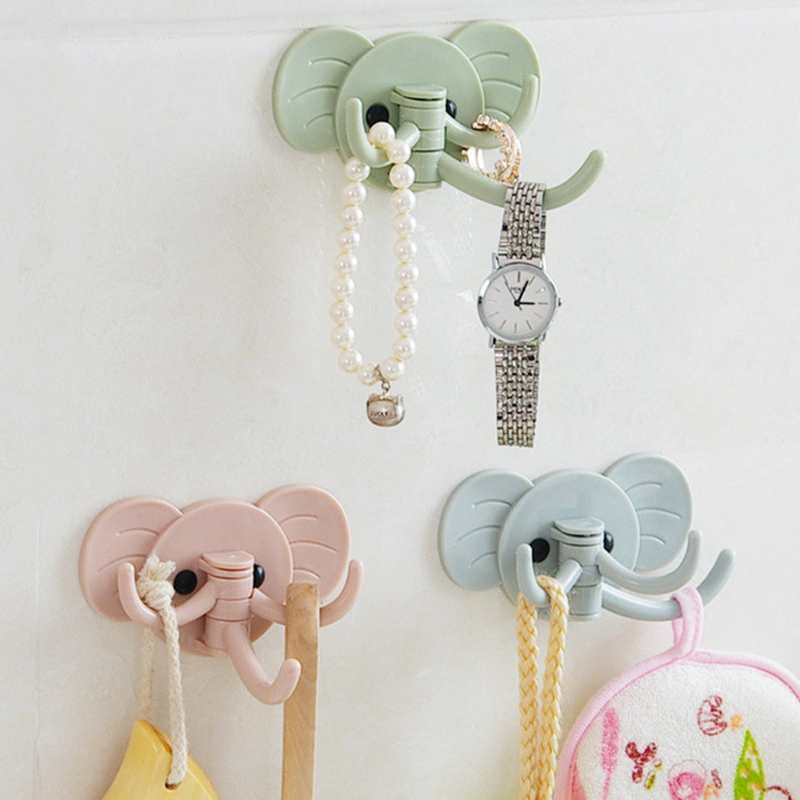 creative cute elephant wall stickers hook kitchen bathroom hooks