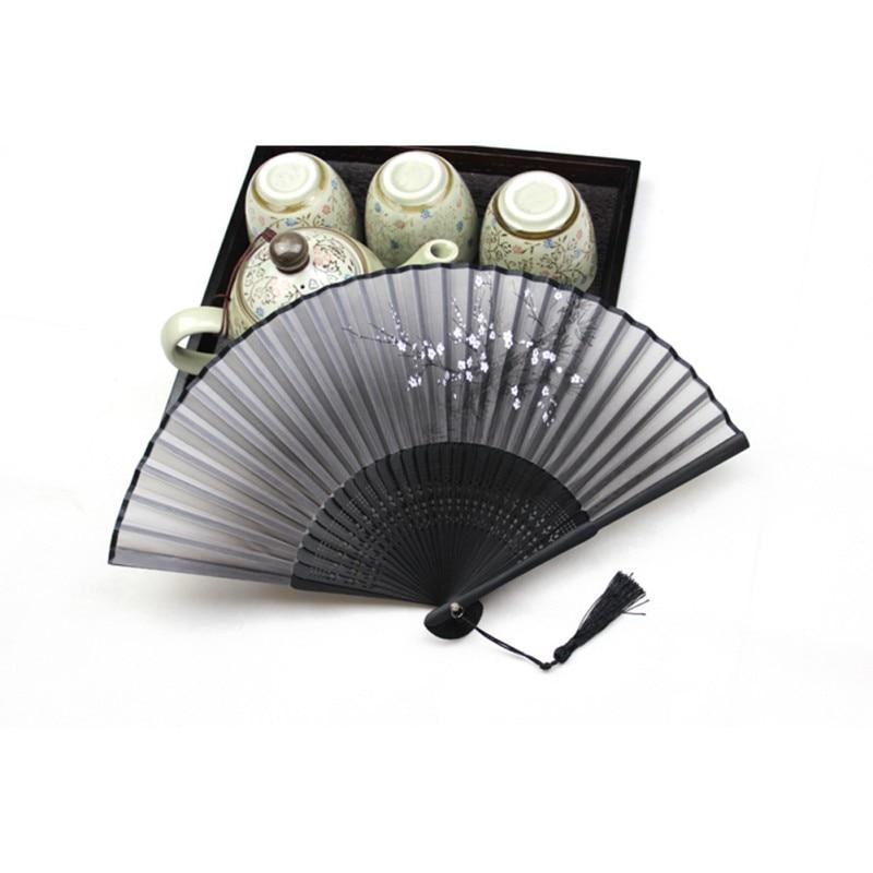 chinese japanese black folding hand held fan silk bamboo. Black Bedroom Furniture Sets. Home Design Ideas