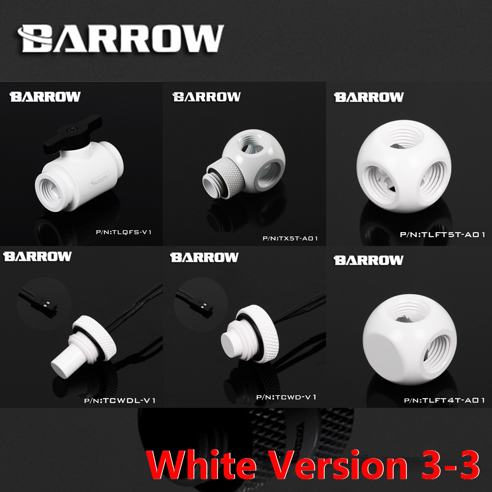 G1/4 White Version 3-3 Water Cooling System Fitting Computer Connectors Color White Cooler Connectors Sets BARROW barrow g1 4 female to female extender 15mm pc water cooling system water cooling fitting tbzt a15
