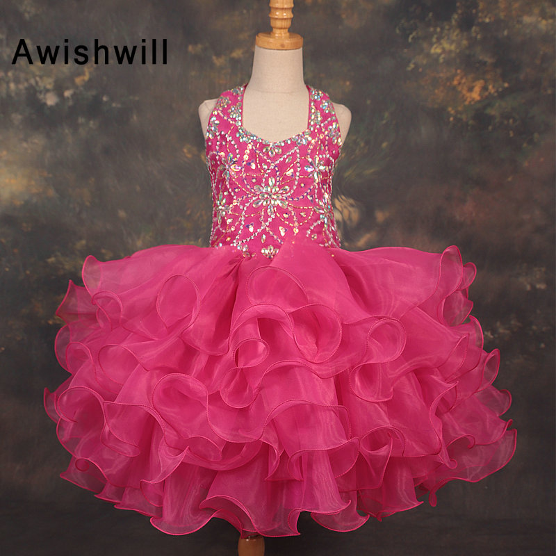 Real Photos Halter   Flower     Girl     Dress   for Weddings Ball Gown Beading Organza   Girl   Party Communion   Dress   Pageant Gown