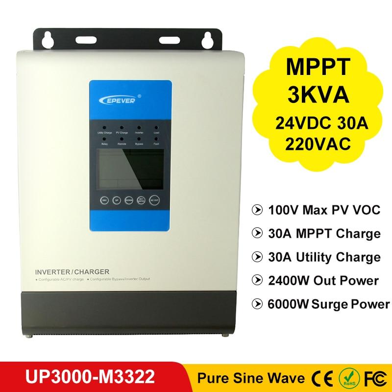 EPever MPPT 30A Solar and Utility Charger Inverter 24V to 220V/230V 3000VA Pure Sine Wave Hybrid Inverters 100V 780W PV UP3000