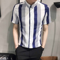 Summer New Social Men's Shirt Short sleeved Striped Print Slim Fit Business Casual Fashion Dress Shirt Man Wild British Style