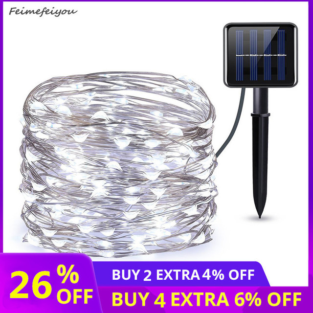 10M Solar LED String Lights Outdoor Waterproof Copper Wire String Holiday Fairy Lights For Christmas Party Wedding Decoration