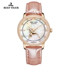 Reef Tiger/RT Designer Fashion Womens Watch with White MOP Dial Diamonds Automatic Watches with Calfskin Leather RGA1550 reef tiger rt designer fashion womens watch with white mop dial diamonds automatic watches with calfskin leather rga1550