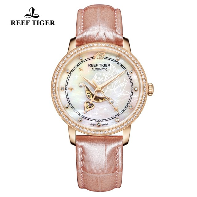 Reef Tiger/RT Designer Fashion Womens Watch with White MOP Dial Diamonds Automatic Watches with Calfskin Leather RGA1550