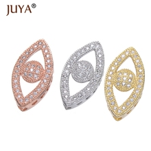 Juya Evil Eye Shape Beads, DIY Bracelets Spacer Beads Charms, AAA Cubic Zirconia, Copper / Brass Metal, 4Pcs lot Wholesale