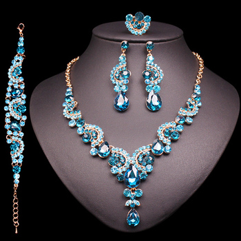 Fashion Crystal Jewelry Sets Jewelry Jewelry Sets Women Jewelry Metal Color: 4 pcs suit lake blue