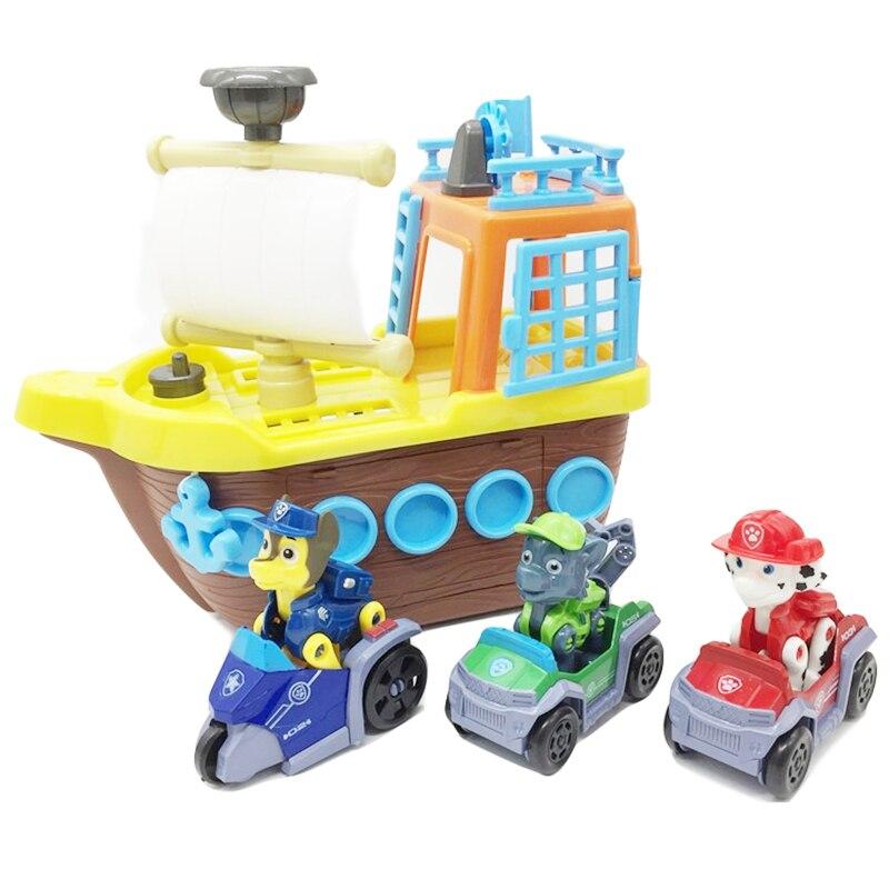Pat' patrouille chien jouets bateau Pirate bateau mer sauvetage navire Base véhicule Anime figurines Action modèle enfants anniversaire jouet pour enfants cadeau
