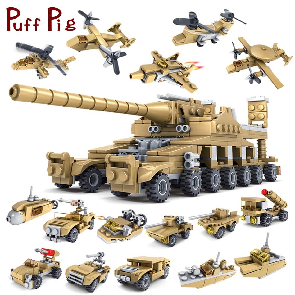 544 pcs 16 dans 1 Armée Réservoir Blocs de Construction Briques Militaire Véhicules Compatible Legoe Armes Brinquedo Menina Jouets Pour Enfants