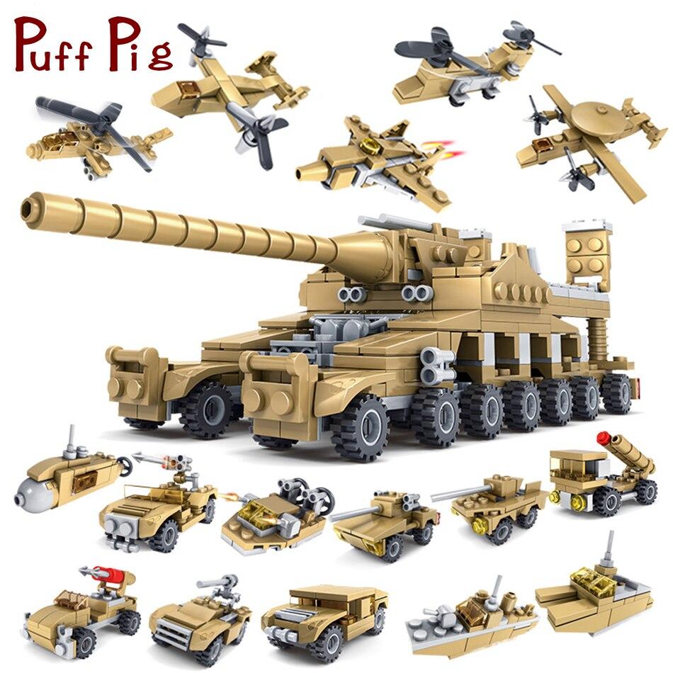 544 stücke 16 in 1 Armee Tank Bausteine Ziegel Militär Fahrzeuge Kompatibel Legoe Waffen Brinquedo Menina Spielzeug Für Kinder