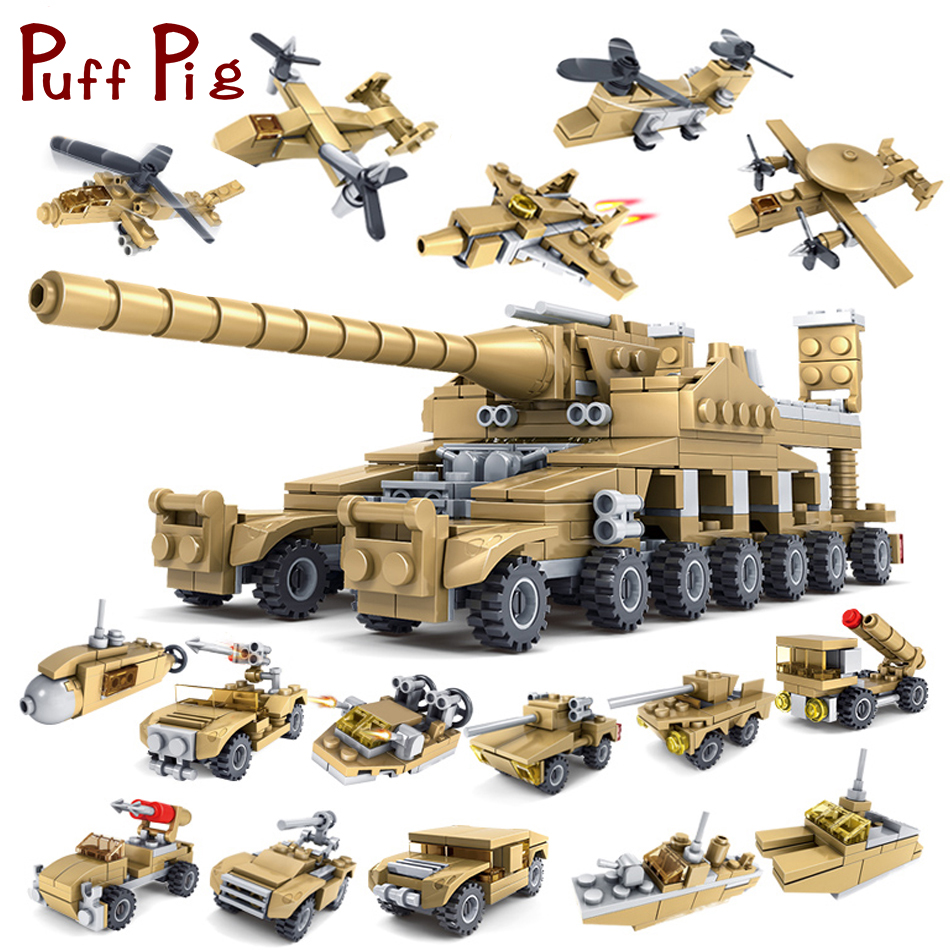 544PCS 16 in 1 Army Tank Building Blocks Bricks Military Vehicles Compatible Legoed Weapons Brinquedo Menina
