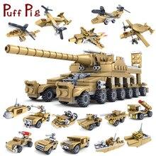 Шт. 544 шт. 16 в 1 армейский Танк строительные блоки кирпичи военные транспортные средства совместимые Legoed оружие Brinquedo Menina игрушки для детей