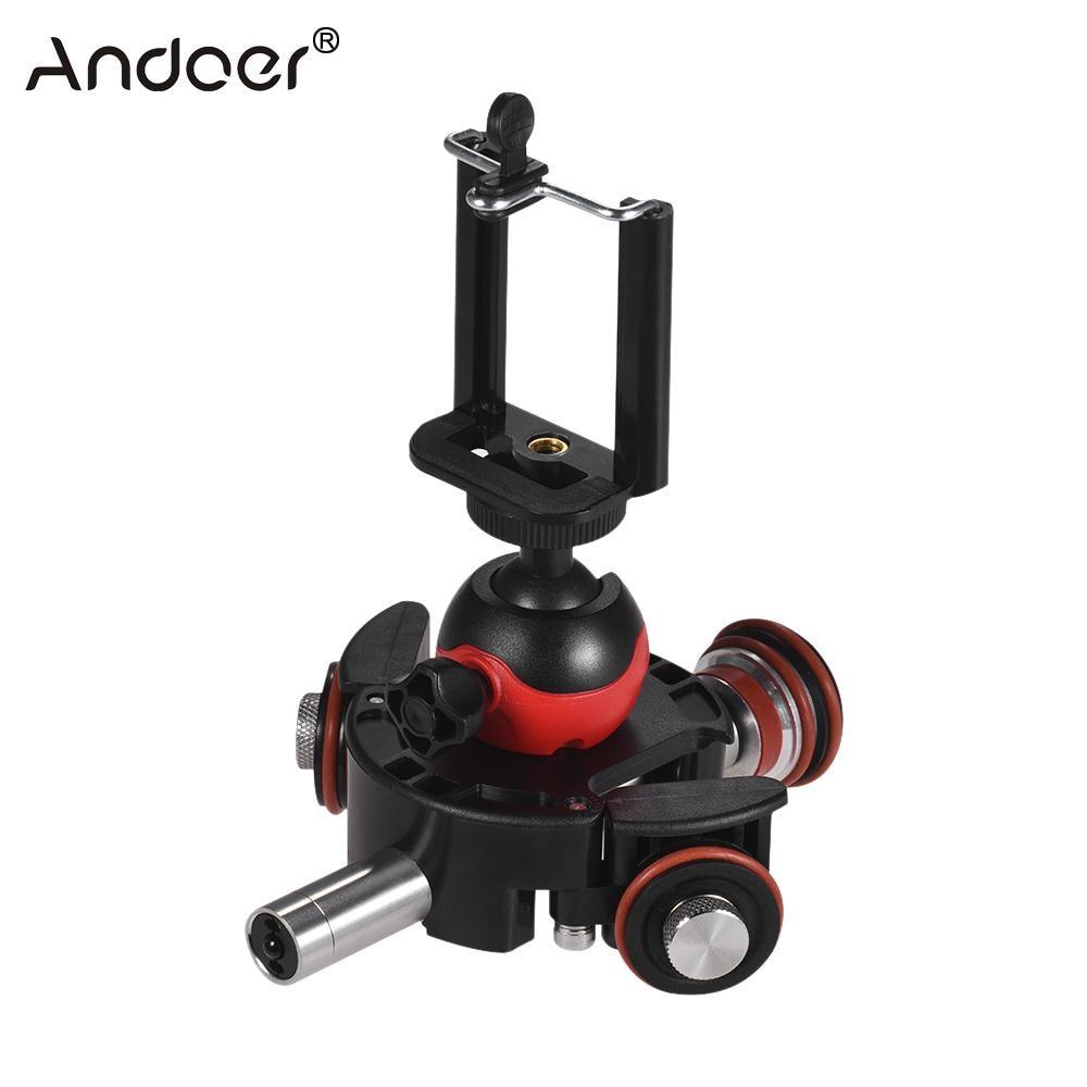Andoer 3 Wheel Pulley Car Skater Mini Slider Track w Swivel Ball Head Phone Clip Remote