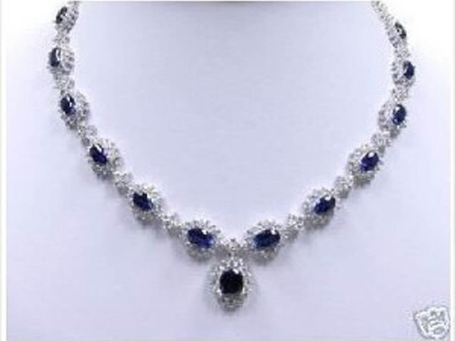 """Perla natural de la joyería de Moda Nueva preciosa Blanco Plantado Collar Cristalino Azul de 18"""""""