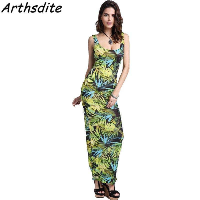 Arthsdite 2018 Fashion Summer Dress Leaf Floral Print Elegant Party Dress  Sleeveless Casual Loose High Elastic Tank Midi Dress-in Dresses from Women s  ... de57816d8cdb
