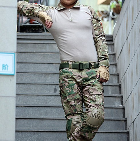 For outdoor hunting suit multicam tactical combat training uniform Gen3 shirt and pants military army suit with knee pads fire maple sw28888 outdoor tactical motorcycling wild game abs helmet khaki