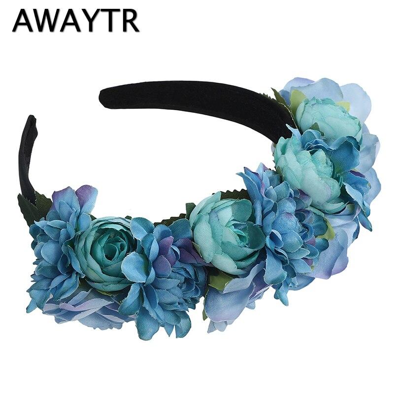 AWAYTR Fashion Boho Flower Crown Women Hairband Wedding Hair Accessories Girls Wreath Female Flower Seaside Photo   Headwear