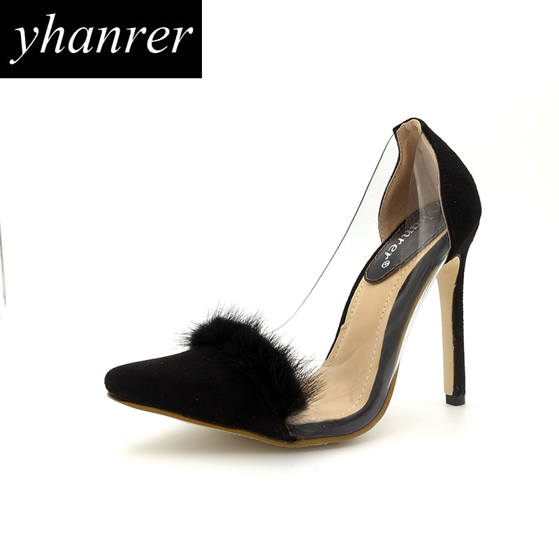 New Women Transparent High Heels Flock Black Pumps Faux Fur Thin Heels Fashion Pointed Toe Stilettos Lady Shoes Heeled 11cm Y117