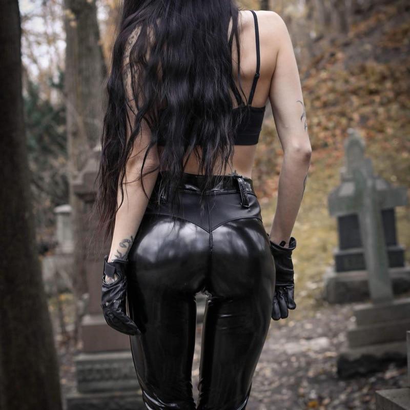 EOEODOIT Fashion Punk Style Leather Pant Big Size V Hip Push Up Shining PU Leggings Motorcycle Women Club Party Zip Trousers