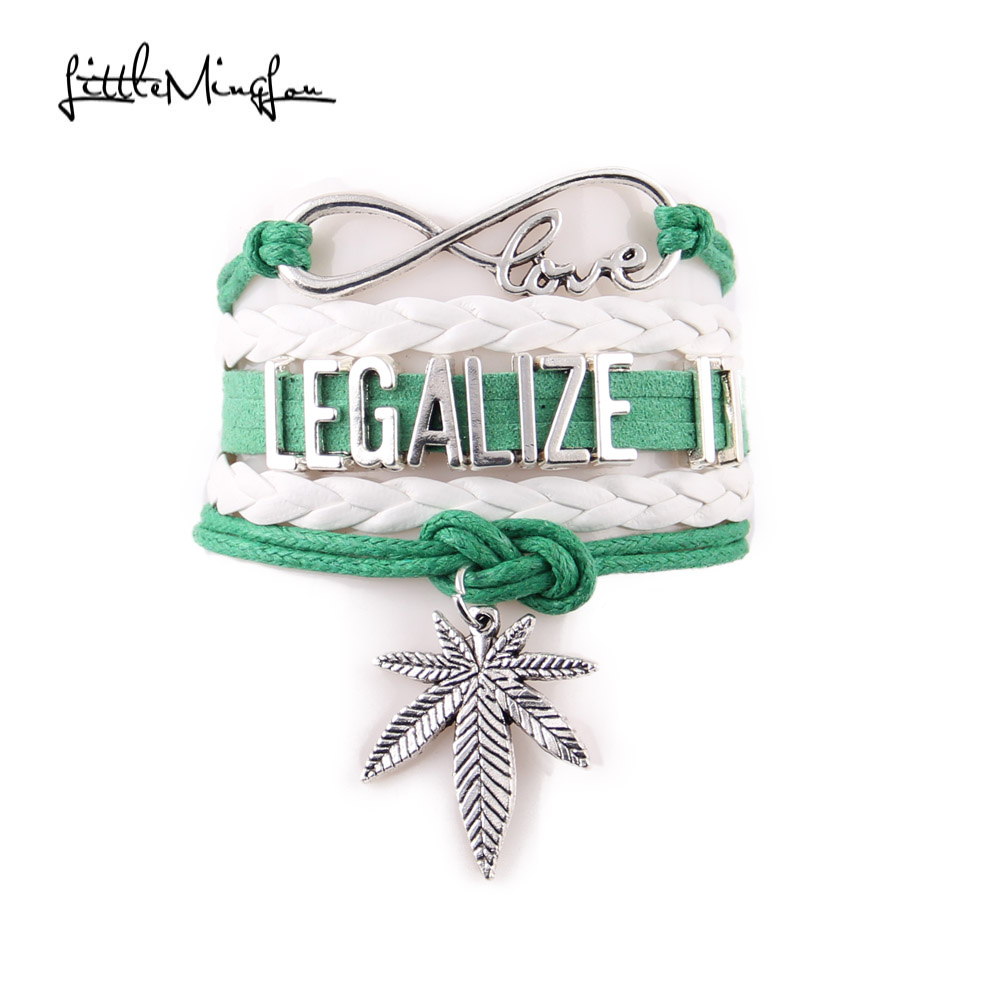 Little MingLou 4 color Infinity love Legalize it Bracelet Leaf Charm Awareness leather men bracelets & bangles for Women jewelry|men bracelet|leather men braceletbangles for women - AliExpress