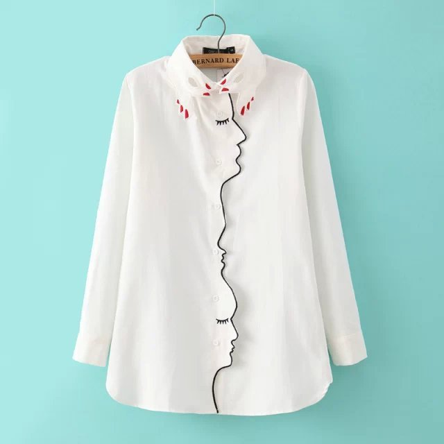 Novelty Women's White Girl Face Line Embroidered Shirt 2016 Women's Long Sleeve Lapel Buttons Slim Hand Collar Loose Blouse