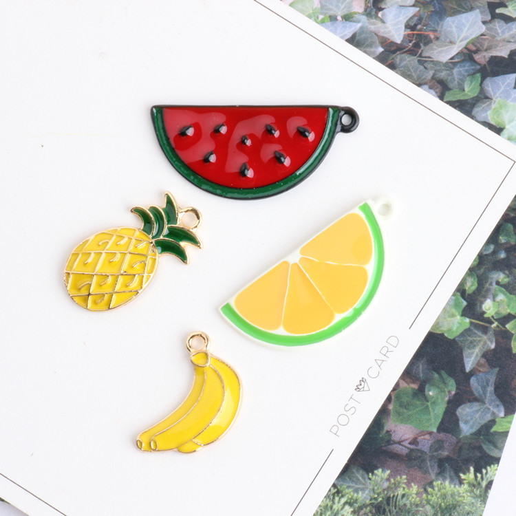 Diy jewelry making 30pcs/lot alloy drop oil fruit style cartoon watermelon/orange/pineapple/banana shape floarting locket charms