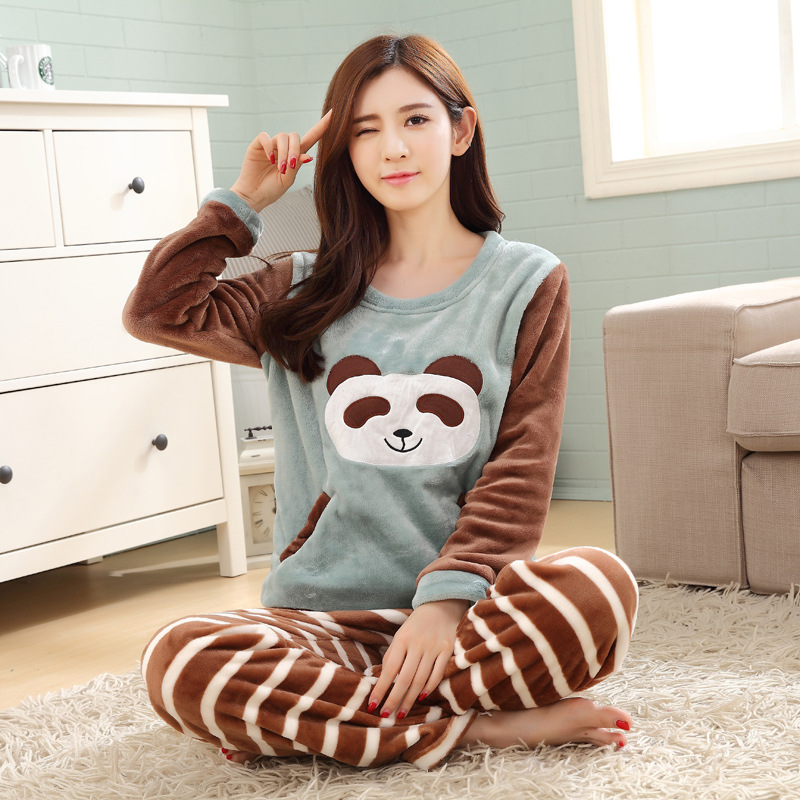 Winter Flannel Females Pyjamas Casual Warm Women   Pajama     Sets   Cartoon Thickening Long Sleeve Female New Kawaii Womens Sleepwear