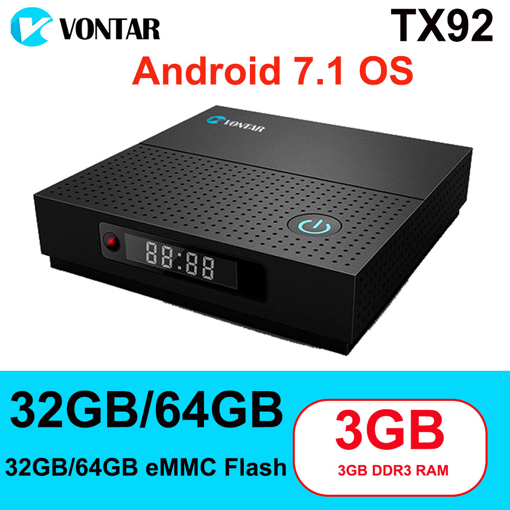 TX92 3GB/64GB 3GB/32GB 2GB/16GB Android 7.1 Smart TV Box Amlogic S912 Octa Core 2.4G/5Ghz Wifi 4K H.265 Media Player Set Top Box подвесная люстра odeon light alvada 2911 8