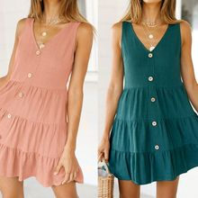 Womens Sleeveless Sexy Deep V-Neck Button Down Mini Swing Tank Dress Solid Color Tiered Pleated Casual Summer Beach Sundress height=
