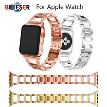 цена на Stainless Steel Strap for Apple Watch Band Rhinestone Diamond Band 38mm 42mm Series 3 2 1 for Apple Watch 40mm 44mm Series 4 5