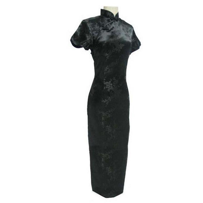 Black Chinese Traditional Dress Sexy Women Satin Qipao Long Cheongsam Flower Plus Size S M L XL XXL XXXL 4XL 5XL 6XL LG04