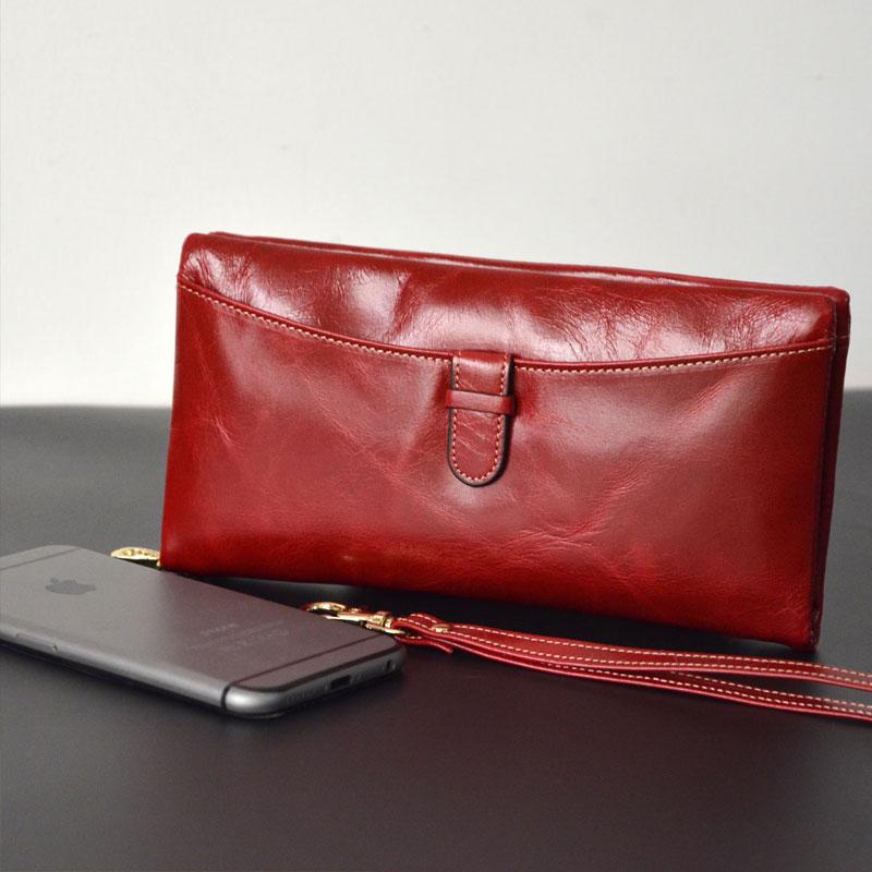 font b women b font genuine leather font b wallet b font bag long design