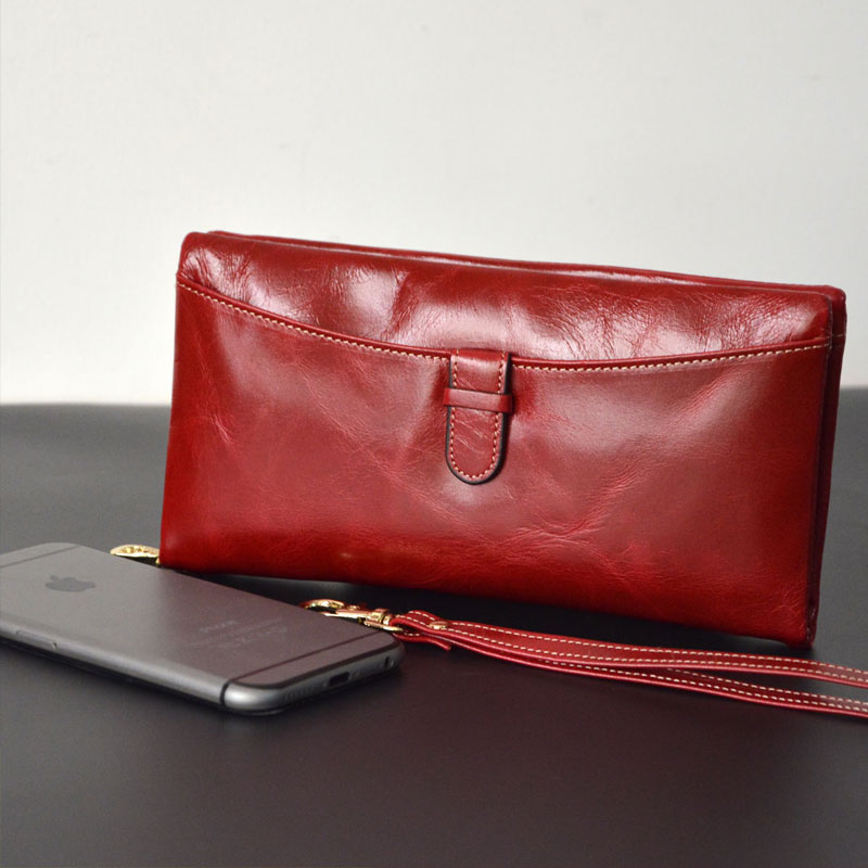 women genuine leather wallet bag long design wallet big purse cowhide organizer wallets oi cat