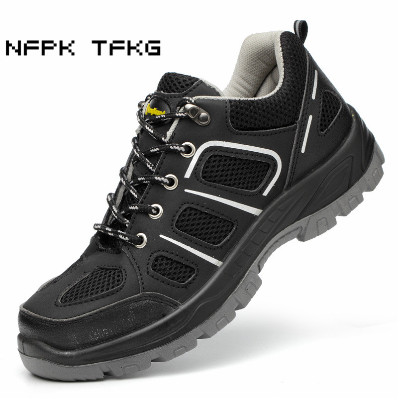 big size mens fashion breathable steel toe caps work safety shoes anti-pierce building site worker dress tooling security boots все цены