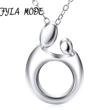 hot deal buy baby mother necklace for women cute baby mom hug heart love necklace 925 sterling silver minimalist jewelry new mothers day gift