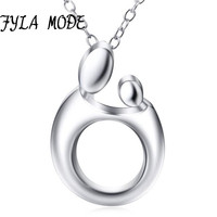 Baby Mother Necklace For Women Cute Baby Mom Hug Heart Love Necklace 925 Sterling Silver Minimalist