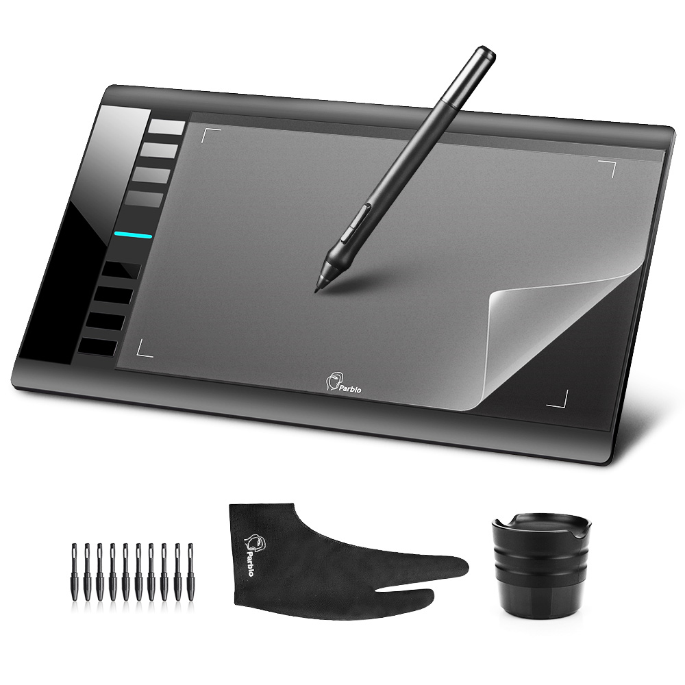 Parblo A610 10x6 Graphics Tablet Art Drawing Tablets USB Support + Protective Film + Anti-fouling Glove + Spare Pen Nibs