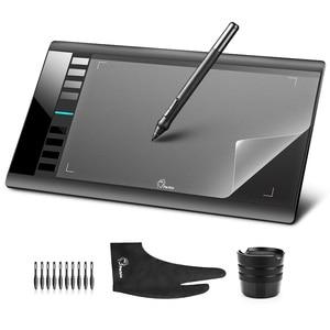 "Image 1 - Parblo A610 10x6 ""גרפיקה Tablet אמנות ציור טבליות USB תמיכה + מגן סרט + אנטי עכירות כפפת + חילוף עט שפיץ"
