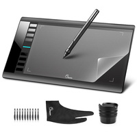 Parblo A610 10x6 Graphics Tablet Art Drawing Tablets USB Support + Protective Film + Anti fouling Glove + Spare Pen Nibs