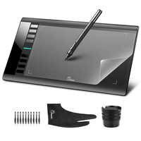 Parblo A610 10x6 tableta gráfica tabletas de dibujo de arte soporte USB + película protectora + Guante Anti-suciedad + pluma de repuesto