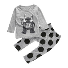2017 New brand Toddler Infant Monster Print T-shirt Tops+Pants Outfits Children Clothing Set Baby Clothes For Girls Boys