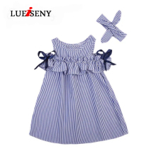 LUEISENY Girls Summer Dress Lovely Toddler Girl Dresses Blue Striped Off-shoulder Baby Kids Clothes цена