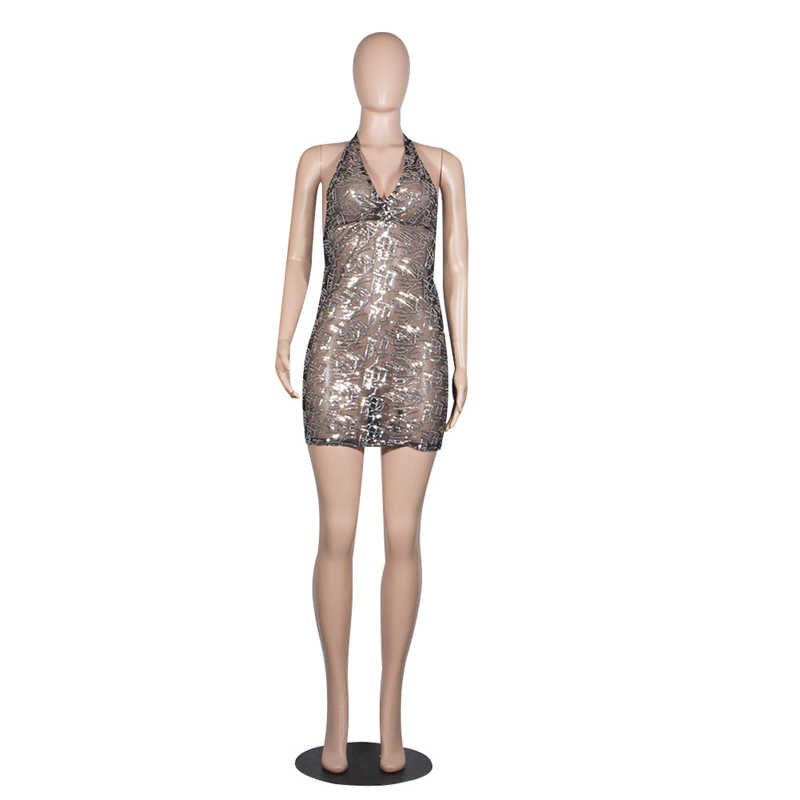 Adogirl Sheer Mesh Pailletten Sexy Club Jurk Diepe V-hals Mouwloze Halter Bodycon Mini Party Jurken Backless Outfits