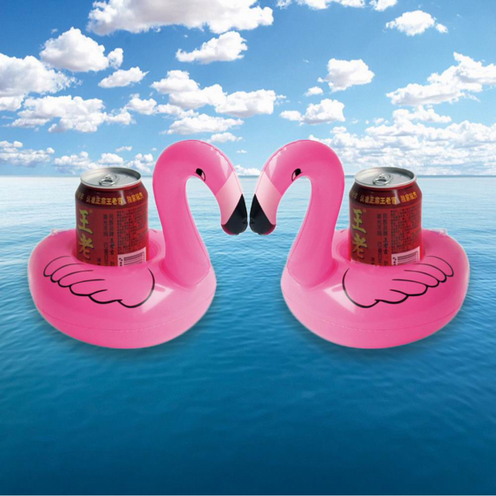 Qute Flamingo Floating Inflatable Drink Can Cell Phone Holder Stand Pool Toys Event Party Supplies