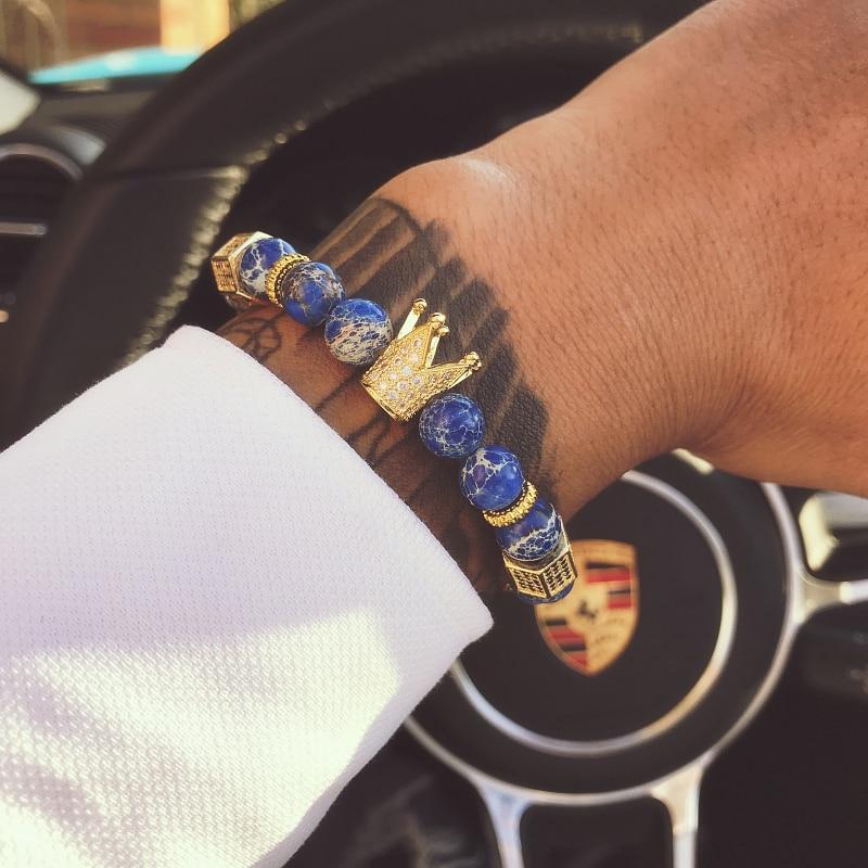 Mcllroy Bracelets Brand Trendy Imperial Crown Charm Men bracelets Natural Stone Beads Women Men Jewelry Pulseras Mujer CZ Paved