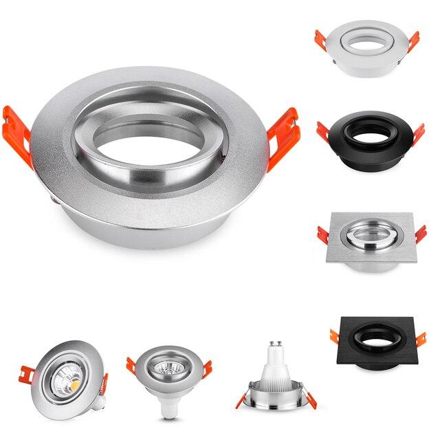 10 Uds cuadrado redondo negro/plata aluminio LED accesorios ajuste halógeno focos GU10 MR16 marco empotrado Led Accesorios